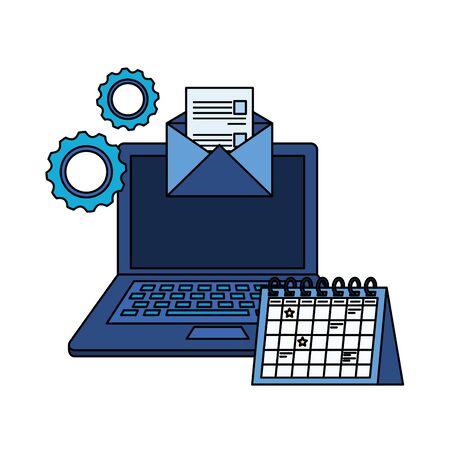 laptop computer with envelope email vector illustration design