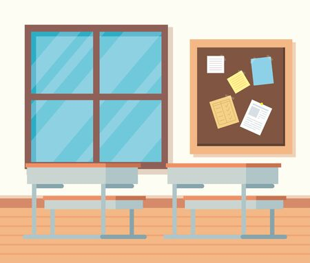academic classroom with desks and note board and window to school education vector illustration Illustration