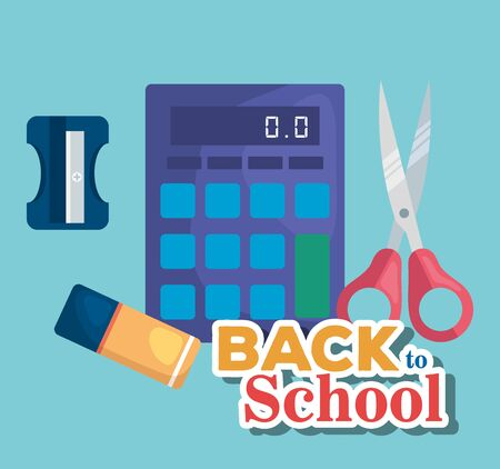 calculator with eraser and scissors with sharpener supplies to back to school vector illustration