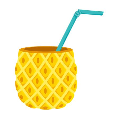 summer fresh fruit pineapple cocktail vector illustration design