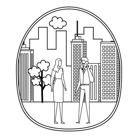 business couple using smartphone on the city vector illustration design
