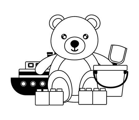 baby toys bear boat bucket blocks design vector illustration  イラスト・ベクター素材