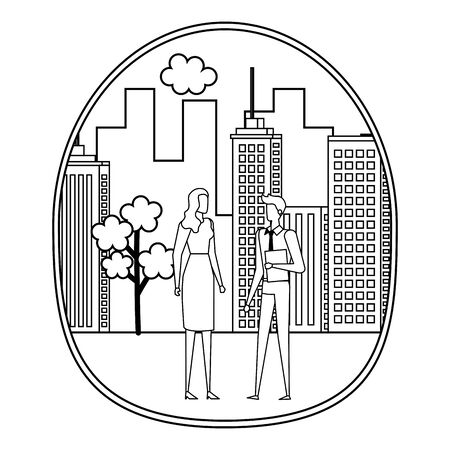 elegant young business couple on the city vector illustration design Stock Vector - 129329473