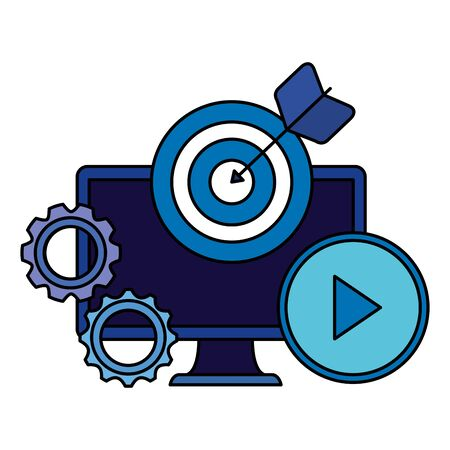 desktop computer device with target and gears vector illustration design 일러스트