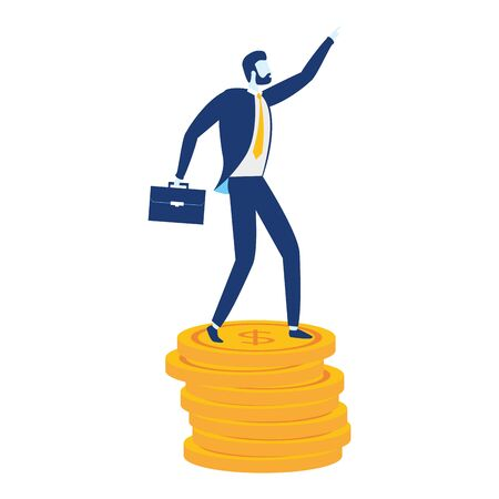 businessman coins money stacked business success vector illustration 向量圖像