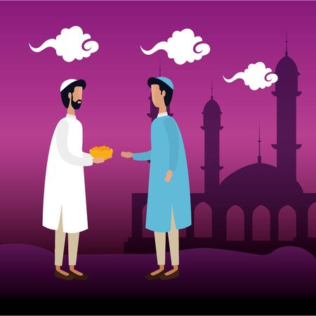 islamic men with traditional clothes in the mosque vector illustration design