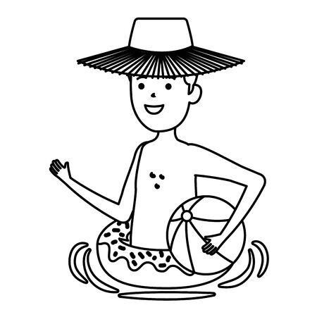 young man with donut float and balloon beach vector illustration design Illusztráció
