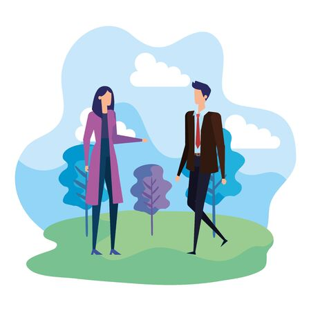 businesswoman and businessman with trees and elegant clothes to office success, vector illustration Illustration