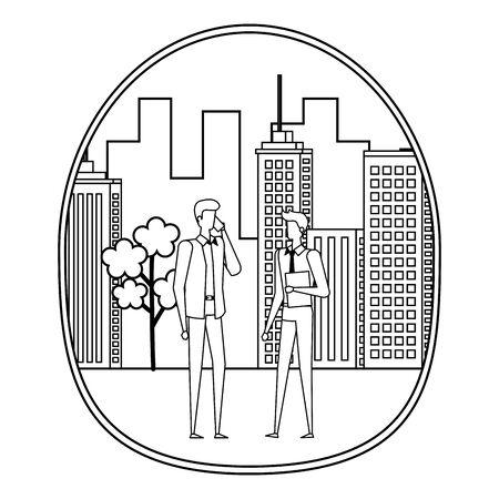 elegant young businessmen using smartphone on the city vector illustration design Stock Vector - 129329503