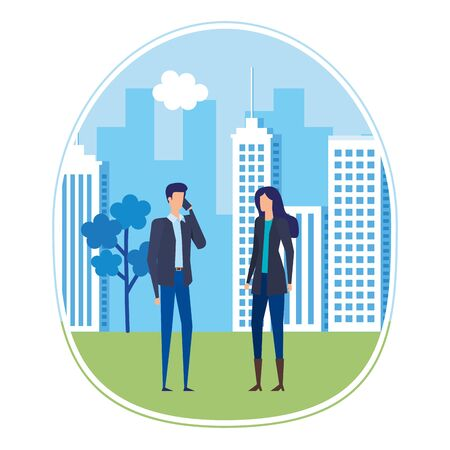 business couple using smartphone on the city vector illustration design Stock Vector - 129329505