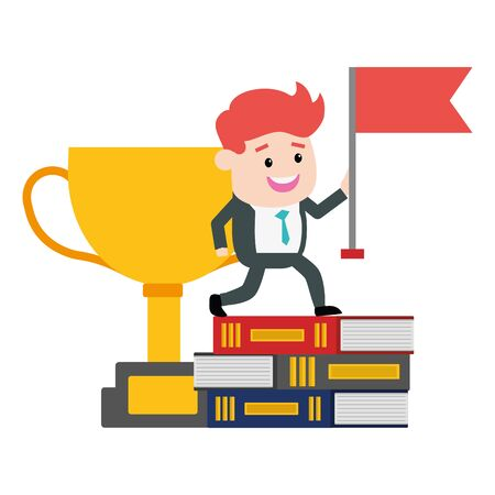 businessman with flag trophy on books success vector illustration