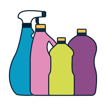 Les outils de nettoyage de printemps bottlespray vector illustration design Vecteurs