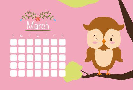 cute owl animal calendar cartoon vector illustration Zdjęcie Seryjne - 129314108