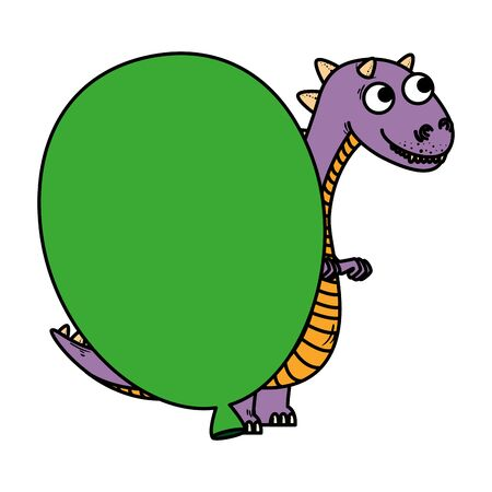 cute tyrannosaurus rex with balloon helium vector illustration design Stock fotó - 129329971
