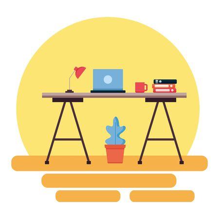 office desk bookshelf laptop workplace vector illustration