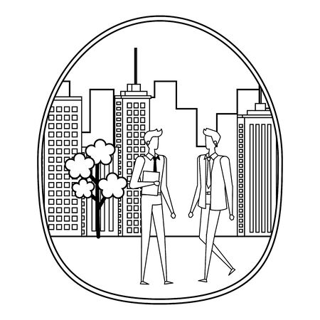 elegant young businessmen on the city vector illustration design Stock Vector - 129329976