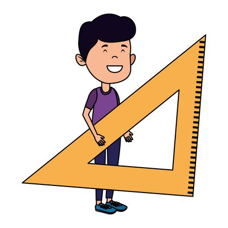 happy student boy with rule triangle vector illustration design