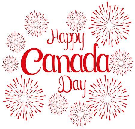 banner di felice giorno del Canada con illustrazione vettoriale di fuochi d'artificio