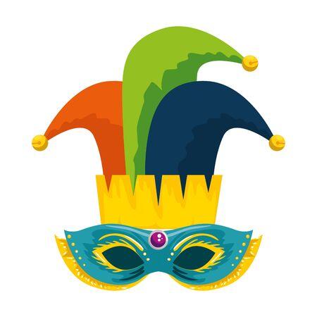 carnival mask with joker hat vector illustration design Ilustração