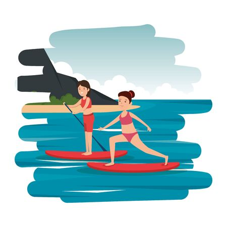 happy athletic girls practicing surf in the sea vector illustration design