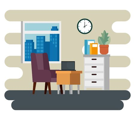 books with file cabinet and laptop with desk and chair in the business office, vector illustration
