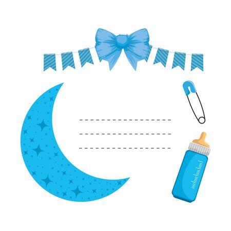 baby shower card with moon vector illustration design Ilustração