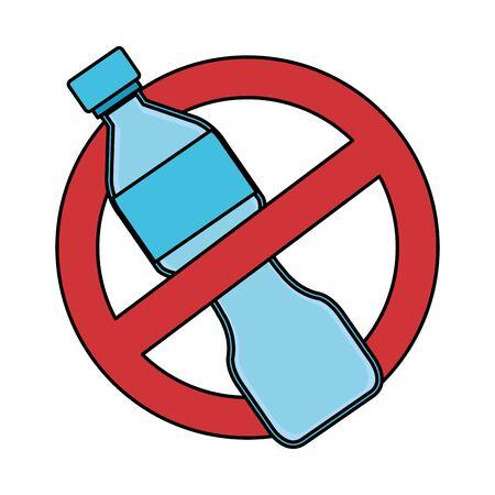 plastic bottle with denied symbol recycle icon vector illustration design Illustration