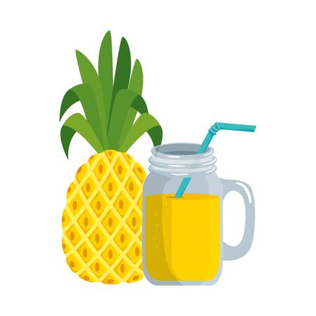 summer fresh fruit pineapple with cocktail vector illustration design Stock Vector - 129336378
