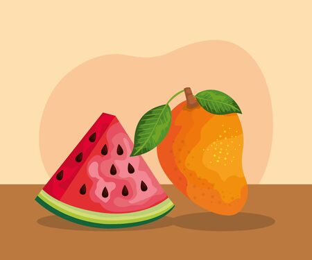 delicious watermelon with mango organic fruit to healthy food, vector illustration