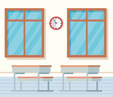 academic classroom with desks and clock between windows to school education vector illustration Ilustracja