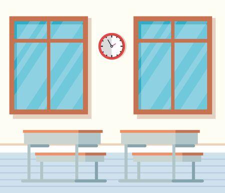 academic classroom with desks and clock between windows to school education vector illustration Illustration