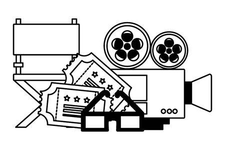 camera chair tickets 3d glasses cinema movie vector illustration