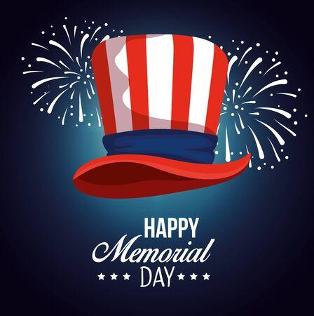 usa hat flag with fireworks celebration vector illustration