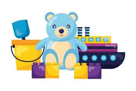 baby toys bear boat bucket blocks design vector illustration Иллюстрация