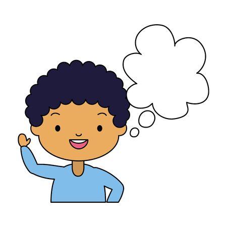 school boy speech bubble white background vector illustration Banque d'images - 129277030