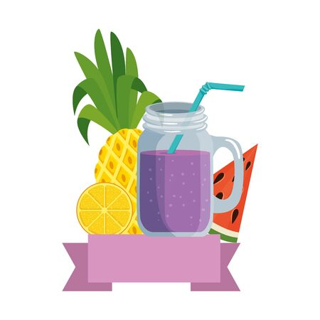 summer tropical cocktail with fruits and straw vector illustration design