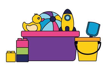 filled bucket ball duck rocket shovel kids toys vector illustration Иллюстрация