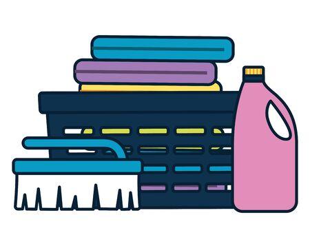 laundry clothes shampoo brush spring cleaning tools vector illustration Ilustracja