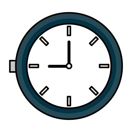 round clock time on white background vector illustration design
