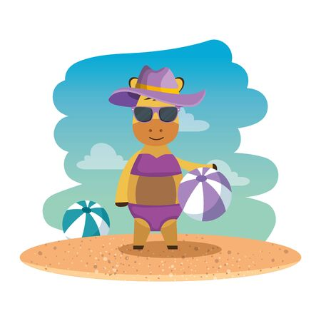 female giraffe with summer hat and balloon on the beach vector illustration