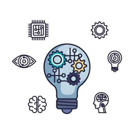 bulb light with gears settings vector illustration design Imagens - 129341386