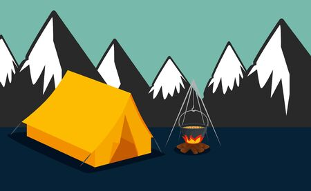nature snowy mountains with camp and firewood food to summer adventure vector illustration Banque d'images - 129341392
