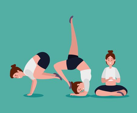 healthy women practice yoga position over blue background, vector illustration