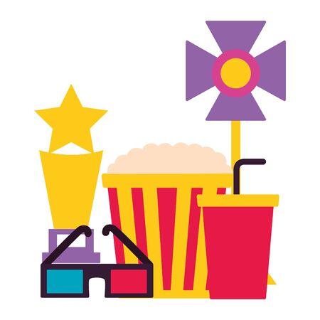 pop corn soda 3d glasses trophy light cinema movie vector illustration Illustration