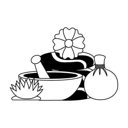 hot compress stones bowl flowers spa treatment therapy vector illustration Foto de archivo - 129314746