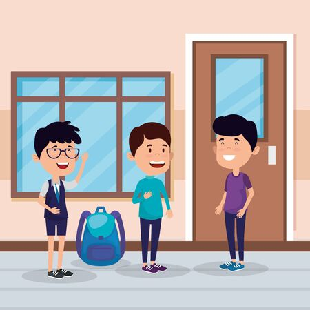 little students boys in the school scene vector illustration design