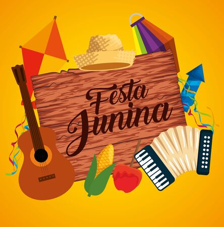wood emblem with party decoration to festival vector illustration