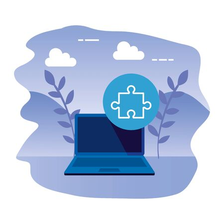 laptop computer with puzzle piece vector illustration design Banque d'images - 129341557