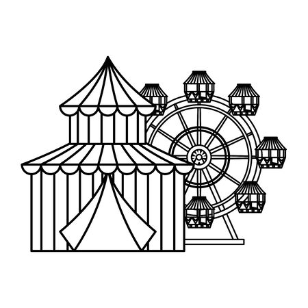 circus tent carnival with panoramic wheel vector illustration design Illusztráció