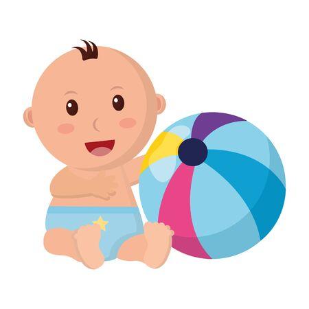 baby boy with beach ball toys vector illustration